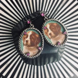 "New! St Bernard Pup Drop Earrings + Pink ""crystal"""